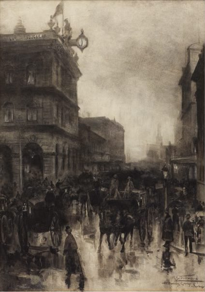 An image of Wet evening, George Street, Sydney by A Henry Fullwood