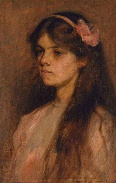 An image of (Girl in pink) by Florence Aline Rodway