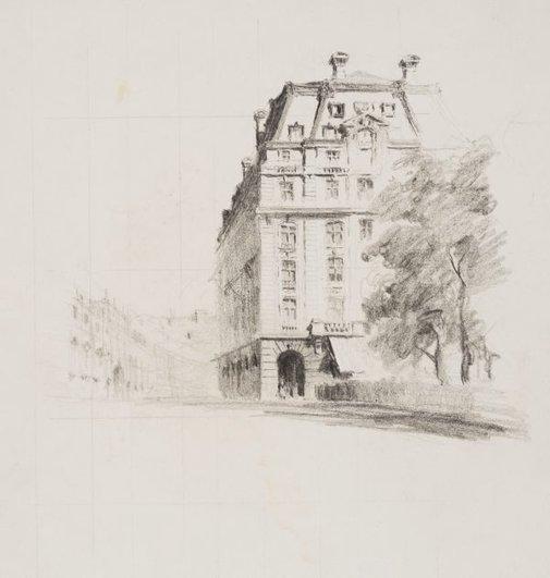 An image of Along the rue de Rivoli, Paris by Lloyd Rees