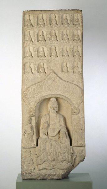 An image of Stele of Shakyamuni, the historical Buddha, and Maitreya the Buddha of the future by