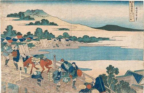 An image of Fukui in Echizen by Hokusai Katsushika