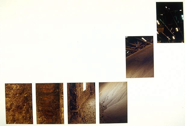 An image of Untitled (Panorama inside warehouse. From close up of wall to pile of sugar to rafters in roof)
