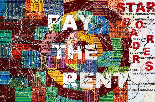 AGNSW collection Richard Bell Pay the rent (2009) 203.2010.a-b
