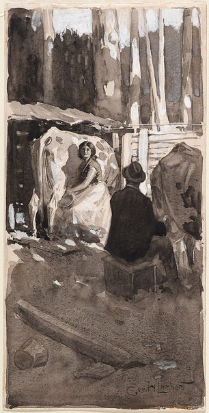 An image of Milking time 'The love story of Tamar Niell' by George W Lambert