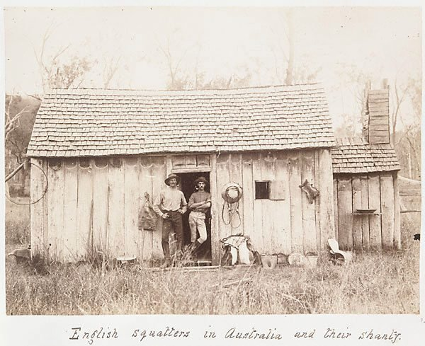 An image of English squatters in Australia and their shanty