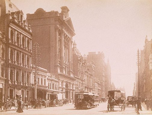 An image of Street scene, Melbourne by Unknown