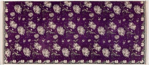 An image of Skirt cloth (kain panjang) with design of anemones by Eliza van Zuylen workshop