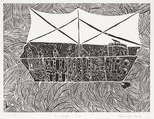 The Macassan prahu, (2006), Duyfken: The Aboriginal Print Portfolio by Dhuwarrwarr Marika