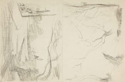 An image of recto: Street view and Trees verso: Trees and Head of a man by Lloyd Rees