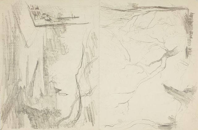 An image of recto: Street view and Trees verso: Trees and Head of a man