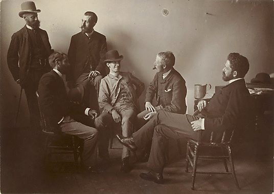 "An image of Group portrait of Fred B Schell, W C Fitler, ""Hop"" (L Hopkins), Phil May, Julian Ashton, W T Smedley"