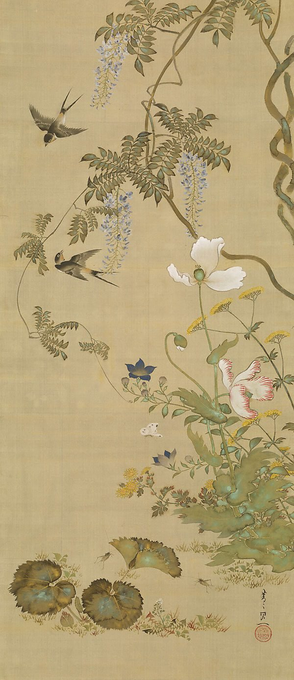 An image of Birds and flowers