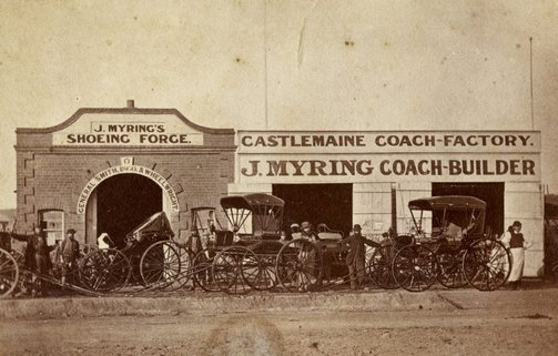 An image of Untitled (J. Myring's shoeing forge and Castlemaine coach factory) by Dublin & Melbourne Portrait Rooms
