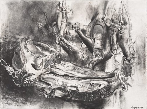 An image of Study for 'The chrysalis dreams of empire' by James Gleeson