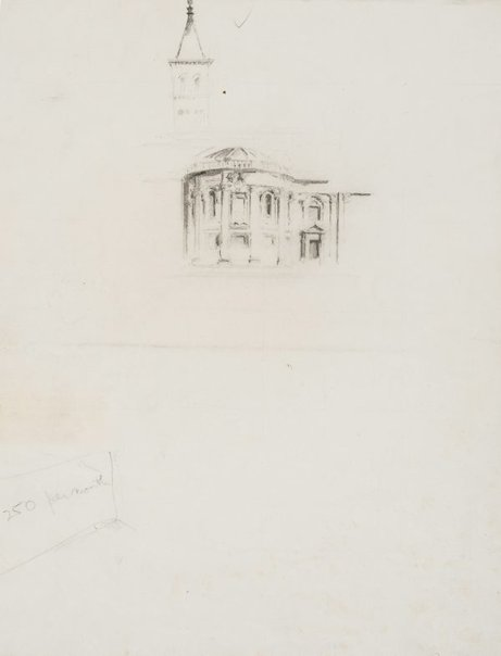 An image of recto: A chapel of Santa Maria Maggiore, Rome and A tower verso: A fountain and Nelson's Monument in Trafalgar Square, London by Lloyd Rees
