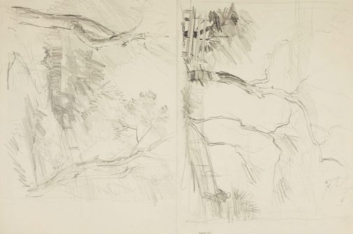 An image of recto: Harbour with fence and bench and Pathway through trees verso: Man on a bench by the water and Trees by Lloyd Rees