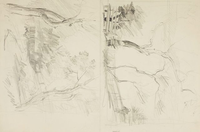 An image of recto: Harbour with fence and bench and Pathway through trees verso: Man on a bench by the water and Trees
