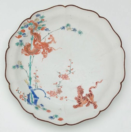 An image of Dish with tiger and dragon design by Arita ware