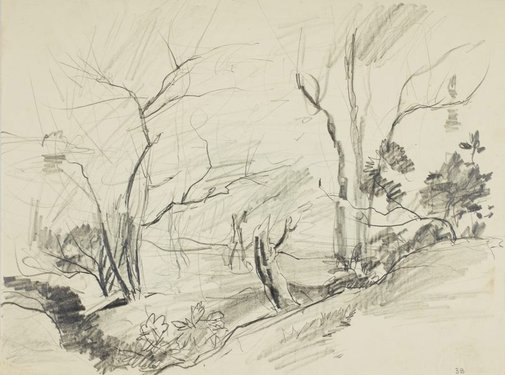 An image of recto: Bushland verso: House and garden by Lloyd Rees
