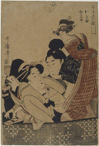 An image of Lovers Okoma and Saizaburo by Kitagawa UTAMARO