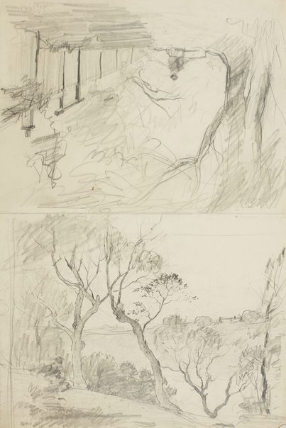 An image of recto: Landscape verso: Landscape with avenue and Stepped path with fence by Lloyd Rees