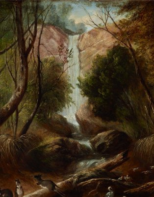 Alternate image of (Bush landscape with waterfall, New South Wales) by John Skinner Prout