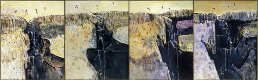 An image of Waterfall polyptych by Fred Williams