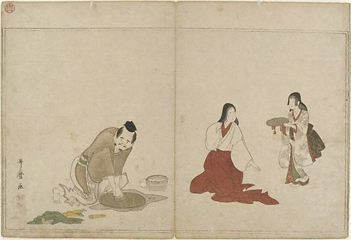 An image of Mirror polishing by Kitagawa UTAMARO