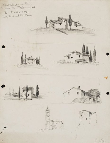 An image of Sketches from the train, Siena to Florence by Lloyd Rees
