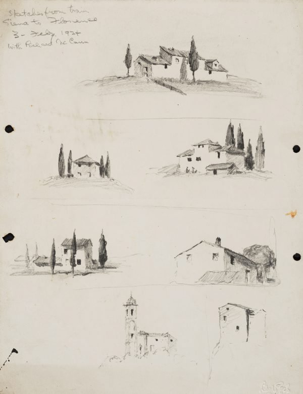 An image of Sketches from the train, Siena to Florence
