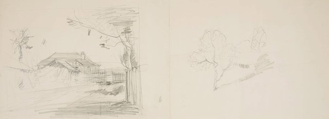 An image of recto: House with palm tree and two trees in rural landscape verso: Two trees, Toy animal and Trees on a slope