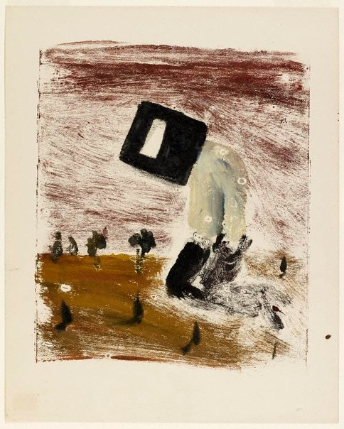 An image of Kelly kneeling by Sidney Nolan