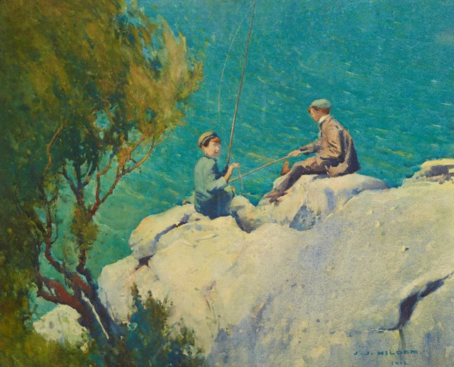 An image of Boys fishing or The compleat anglers