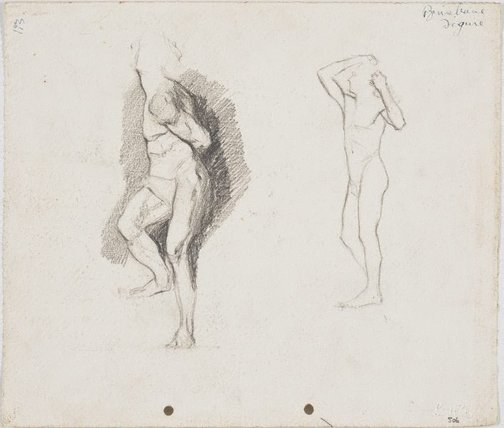 An image of recto: Michaelangelo's 'Captive' and Rodin's 'Bronze Age' verso: Father, Ted and Merlin by Lloyd Rees
