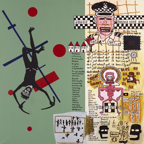 An image of Notes to Basquiat (in the future art will not be boring) by Gordon Bennett