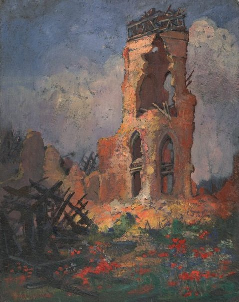 An image of (Ruined church with poppies, Villers-Bretonneux) by Evelyn Chapman