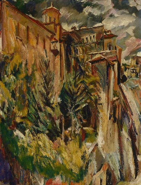 An image of The garden and tower of the sacristy, Cuenca Cathedral by David Bomberg