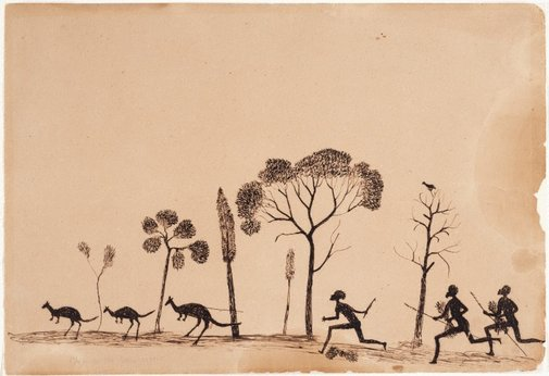 An image of Spearing the kangaroo by Tommy McRae
