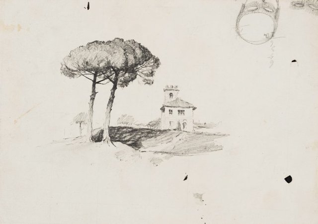 An image of Italian house with two pines and Two masks