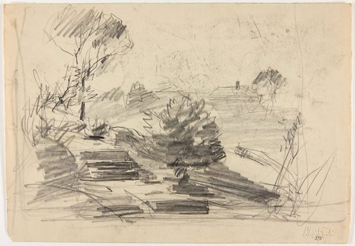An image of recto: Pathway, trees and rooftop verso: Fence by a road by Lloyd Rees