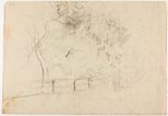 Alternate image of recto: Pathway, trees and rooftop verso: Fence by a road by Lloyd Rees