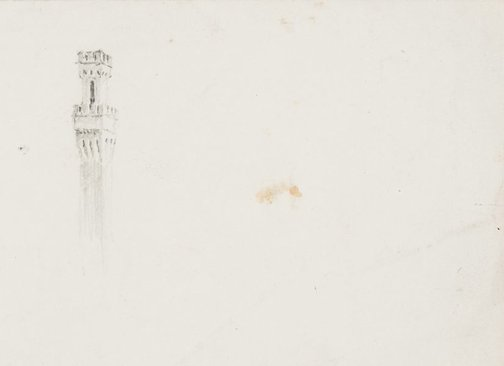 An image of recto: Torre del Mangia, Siena verso: A tower by Lloyd Rees