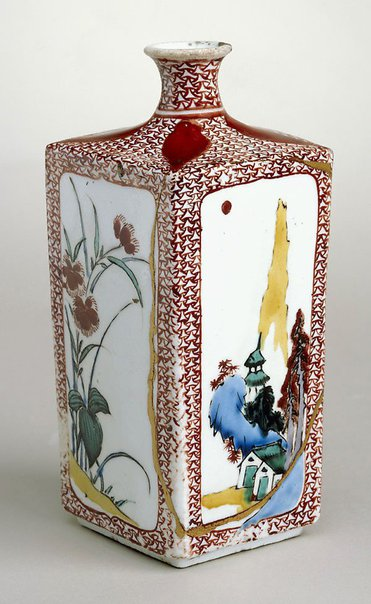 An image of Bottle with design of landscape and flowering plants by Arita ware/Ko-Kutani style