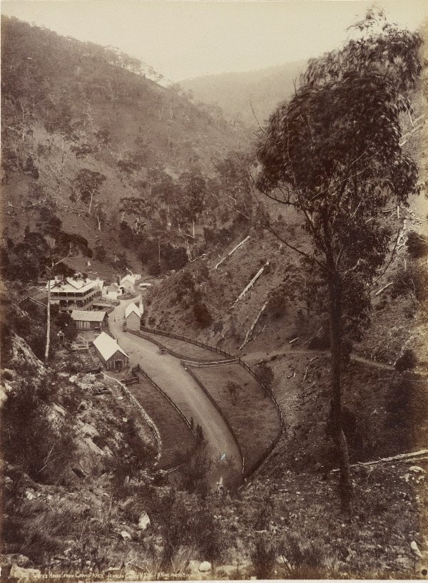 An image of Caves House from the Grand Arch, Jenolan Caves, New South Wales