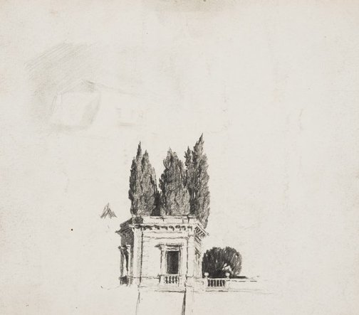 An image of Wall of the Villa Aldobrandini with cypresses by Lloyd Rees