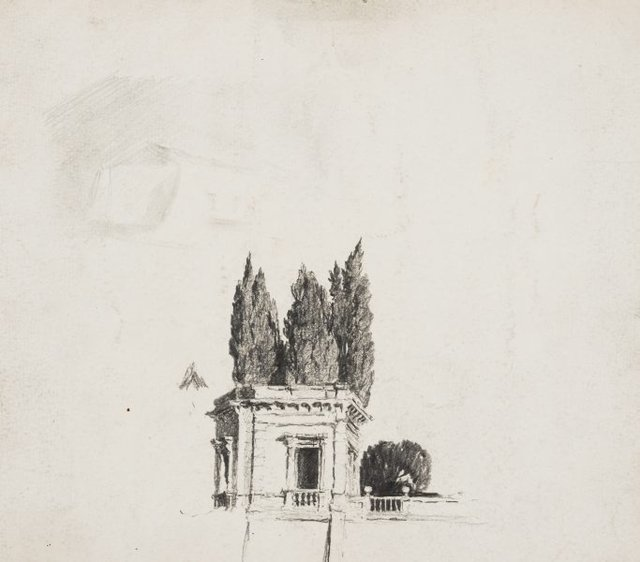 An image of Wall of the Villa Aldobrandini with cypresses