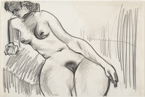 An image of Female nude, seated and leaning by Albert Tucker