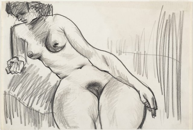 An image of Female nude, seated and leaning