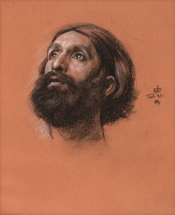 An image of Study of a bearded male head, looking up