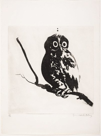 AGNSW collection Brett Whiteley Startled (owl) (1984) 213.2012